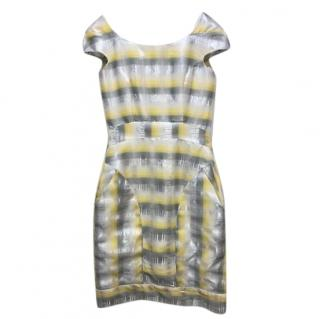Erdem Metallic Check Print Mini Dress