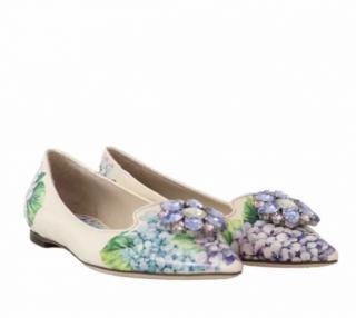 Dolce & Gabbana Hydrangea Print Embellished Ballet Flats