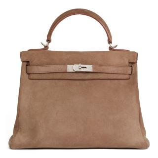 8f7ccb7ae Hermes Veau Doblis Etoupe 32cm Kelly Retourne Bag