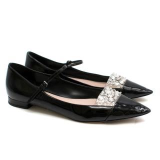 Miu Miu Patent Leather Crystal Embellished Ballerina Pumps