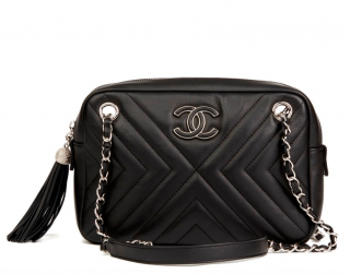 Chanel Chevron Leather Calfskin Fringed Camera Bag
