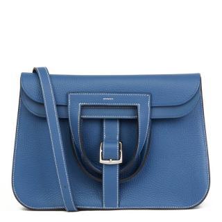 Hermes Clemence Leather Blue Agate 31cm Halzan Shoulder Bag