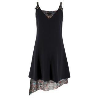 Louis Vuitton black floral layered asymmetric mini dress