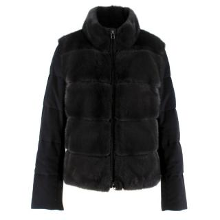 Vizelle black mink fur cashmere & wool jacket
