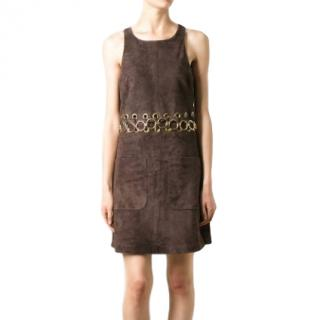 Chloe Brown Suede Eyelet Cut-Out Mini Dress