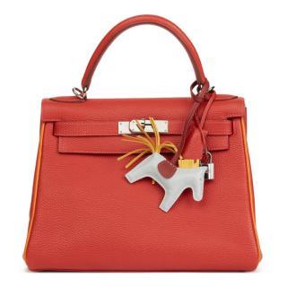 Hermes Special Order Rouge Vif & Poitron Togo 28cm Retourne Kelly