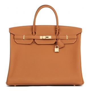 Hermes Togo Leather Special Order Gold 40cm Birkin Bag