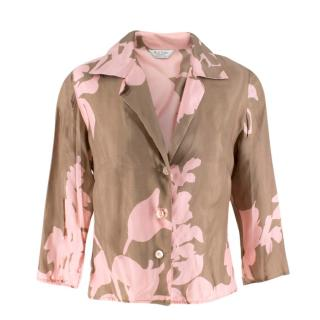 Paul Smith pink and brown floral shirt