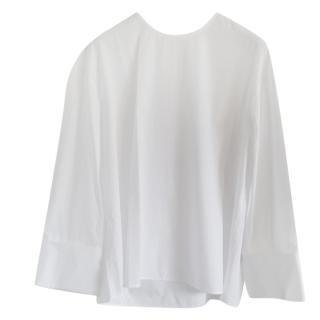 Celine White Tie-Neck Blouse