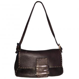 Fendi Black Vintage Leather Baguette Bag