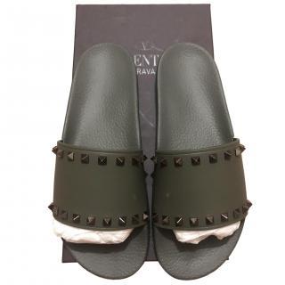 Valentino Men's Khaki Rockstud Slides
