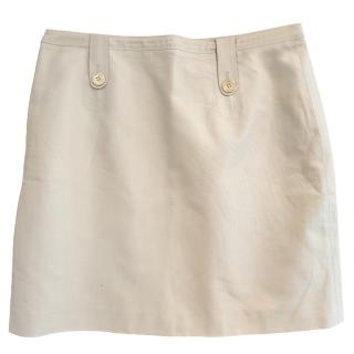 Burberry White Cotton Skirt