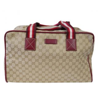 Gucci Monogram Pink Leather Trim Holdall