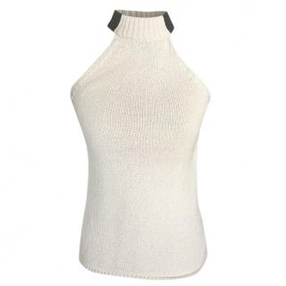 Celine Silk Blend Knit Halterneck Sleeveless Top