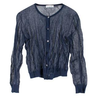 Altuzarra Sheer Navy Crinkled Cardigan