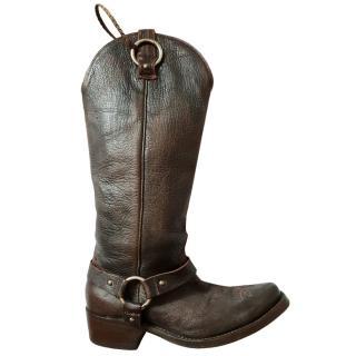 Golden Goose Brown Leather Biker Boots