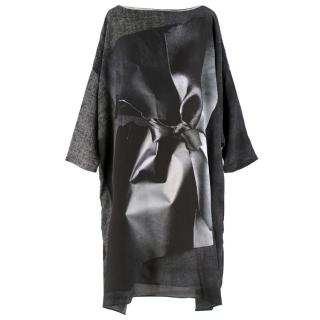 Antoni & Alison Silk Grey and Black Printed Oversize Dress
