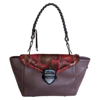 Pauric Sweeney Leather & Python Shoulder Bag