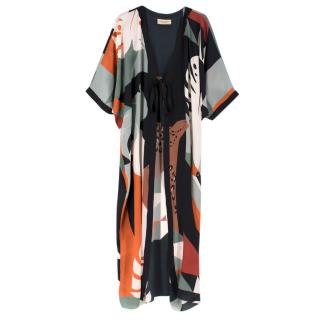 Adriana Degreas Multi-Print Silk Beach Tie Front Cover-up