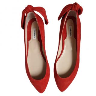 Carven Red Bow Tie Ballerina Flats