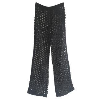 Isa Arfen Black Fishnet High Waist Trousers