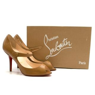 Christian Louboutin Brown Peep-Toe Mary Jane Pumps
