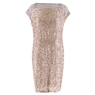 Stella McCartney Taupe Sequin Shift Dress