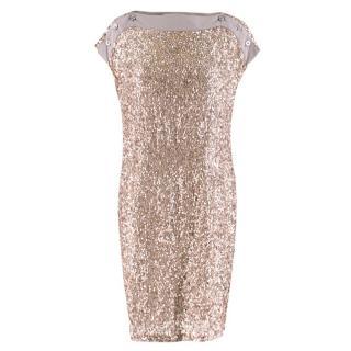Stella McCartney Taupe Sequin Shift Dress