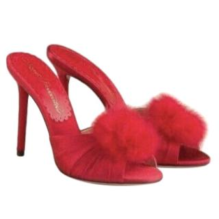 Agent Provocateur Red Satin Feather Trim Mules