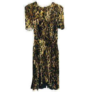 Isabel Marant Draped Leopard Print Midi Dress