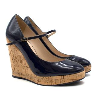 Yves Saint Laurent Navy Patent Leather Cork Wedges