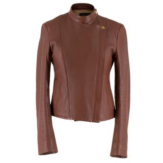 The Row Brown Deer Skin High Neck Leather Jacket