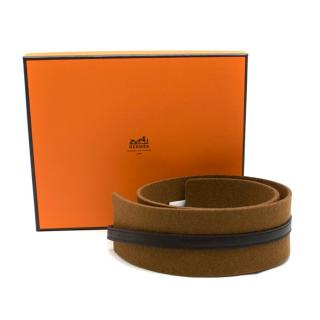 Hermes Brown Leather & Tan Wool Felt Belt