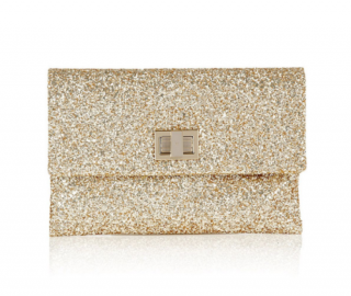 Anya Hindmarch Valorie Gold Glitter Clutch
