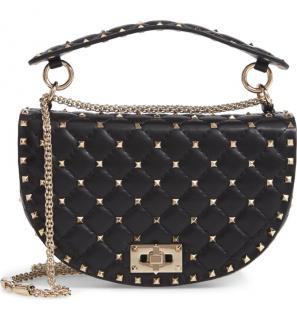Valentino Garavani Rockstud Spike Leather Saddle Bag