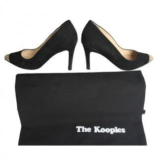 The Kooples Black Suede Gold Cap-Toe Pumps