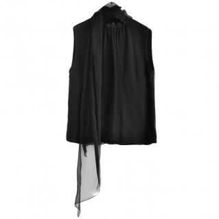 Ralph Lauren black silk scarf neck top