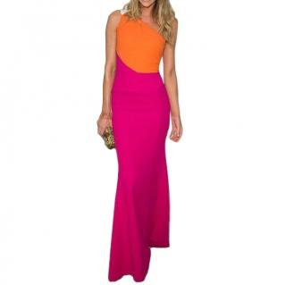 Roland Mouret Orange & Pink Colour-block One-shoulder Gown