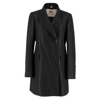 Burberry Black Metallic Tweed Double Breasted Coat