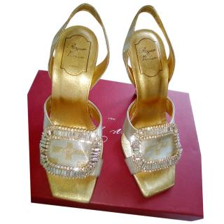 Roger Vivier Brocade Crystal Buckle Sandals