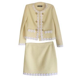 Boutique Moschino Yellow Daisy Trim Skirt Suit
