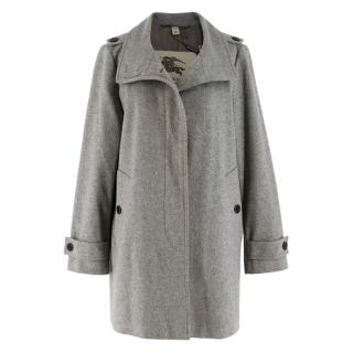 Burberry Grey Wool-Blend Swing Coat