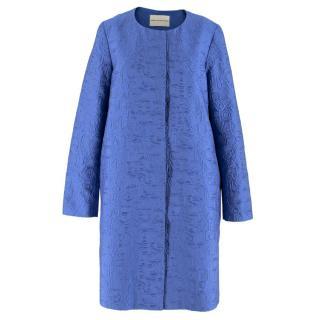 Mary Katrantzou Blue Brocade Twill Coat