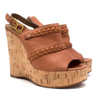 Chloe Brown braided leather cork wedges