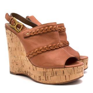 Chloe Brown braided leather cork wedges