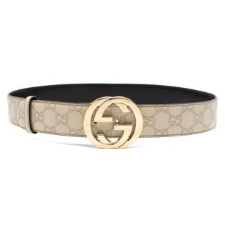 Gucci Monogram Ecru GG Leather Belt
