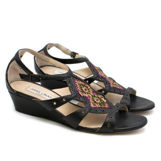 Jimmy Choo Black Embroidered Low Wedge Sandals