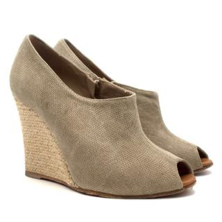Christian Louboutin Grey Canvas 'Corazon' Espadrilles Booties