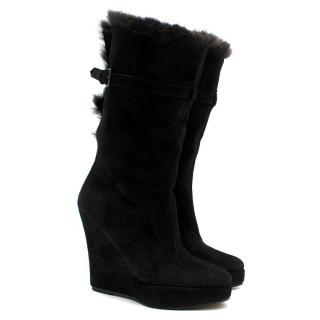 Opening Ceremony Fur & Suede Black Wedge Boots