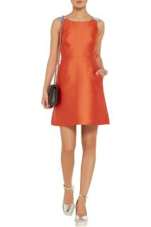 Tara Jarmon Orange Satin-Twill Dress